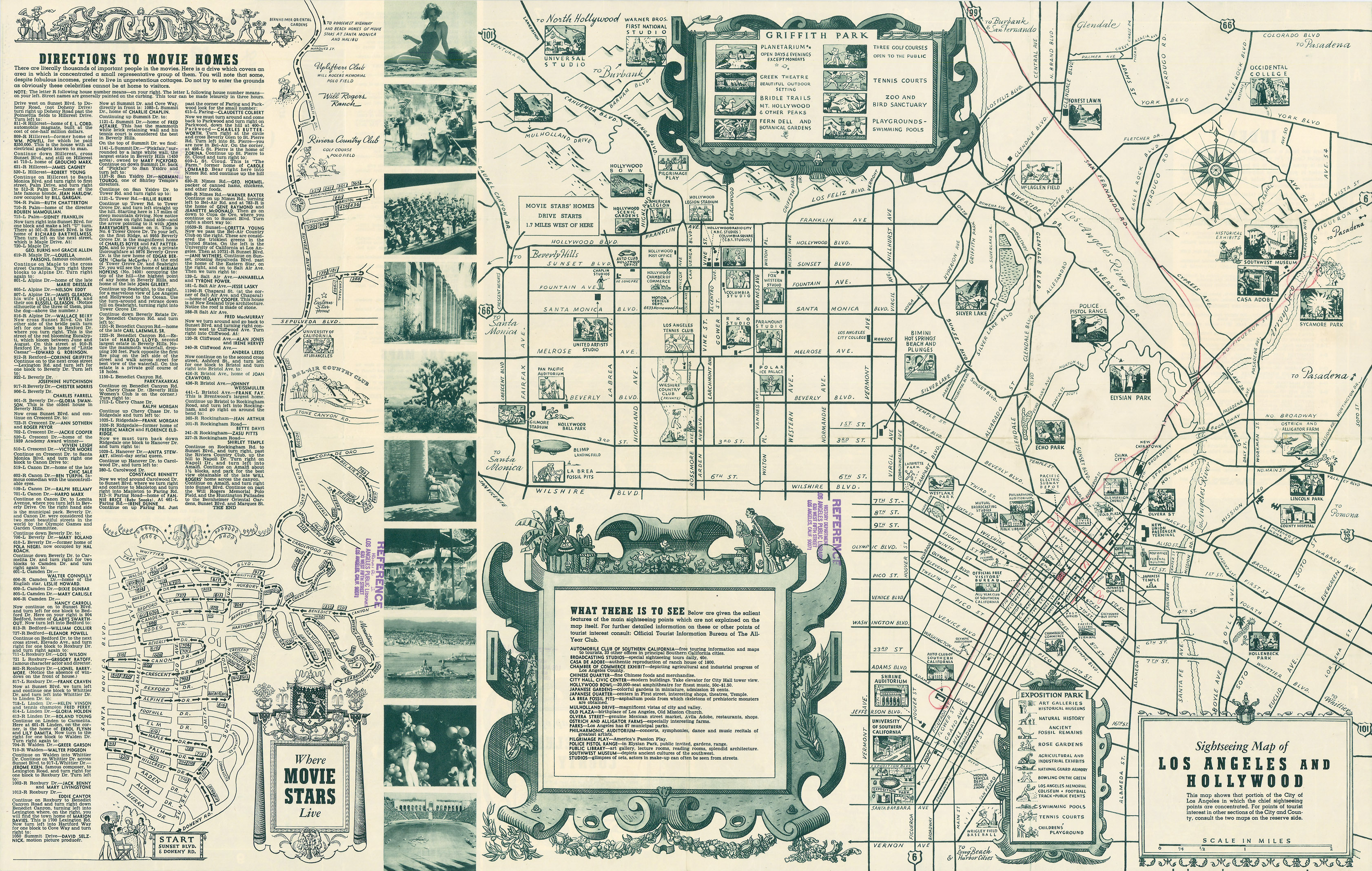 Sightseeing And Stars Homes Map Of The 1940s